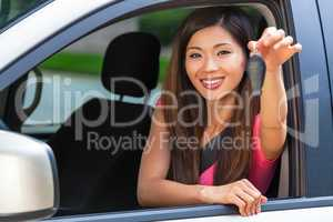 Chinese Asian Young Woman Girl Holding Key Driving Car Smiling