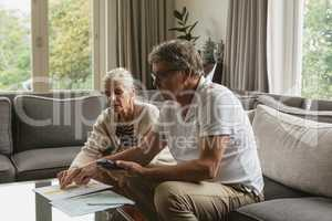 Active senior couple calculating domestic bills on sofa in living room