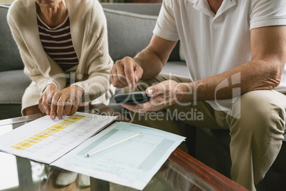 Active senior couple calculating domestic bills on sofa in living room at comfortable home