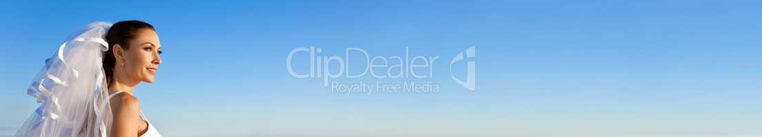 Panoramic Web Banner Bride Wearing Wedding Dress With Blue Sky