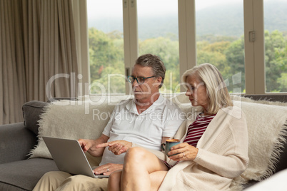 Active senior couple discussing over laptop on sofa in a comfortable home
