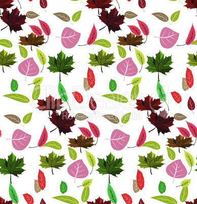 Seamless pattern colored leaves