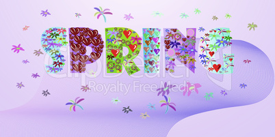 Spring word with flouered letters. Poster for spring