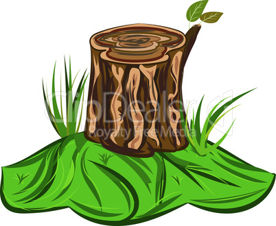 Tree Stump Illustration of a cartoon big tree stump with bench and some blades of grass
