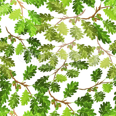 Oak branches with leaf and acorn seamless pattern