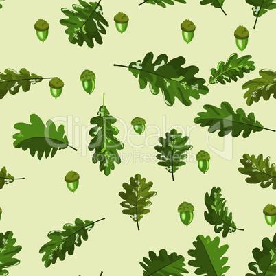 Oak leaf and acorn seamless pattern on soft beige background