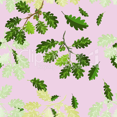 Oak branches with leaf and acorn seamless pattern on pink background