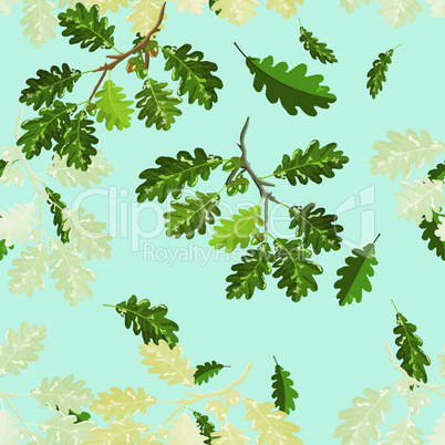 Oak branches with leaf and acorn seamless pattern with blue sky background