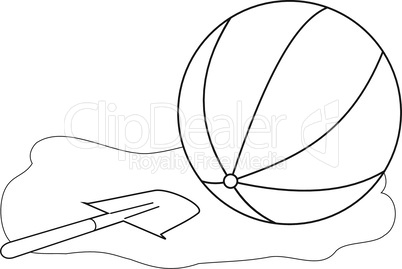 Outlines of a ball and a childrens shovel
