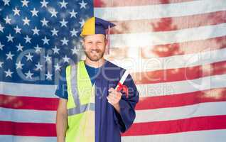Split Screen Male Graduate In Cap and Gown to Engineer in Hard Hat