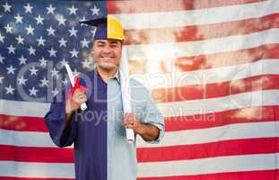 Split Screen Male Hispanic Graduate In Cap and Gown to Engineer