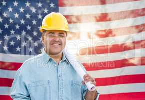 Hispanic Male Contractor with Blueprint Plans Wearing Hard Hat