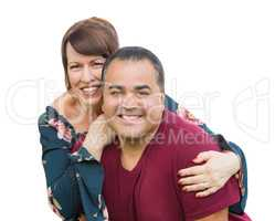 Happy Mixed Race Young Adult Couple Portrait Isolated on White