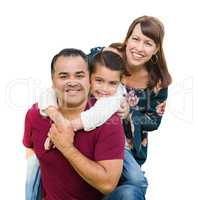 Happy Mixed Race Family Portrait Isolated on a White Background
