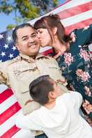 Male Hispanic Armed Forces Soldier Celebrating His Return