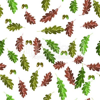 Oak accorn and autumn leaf seamless pattern autumn background