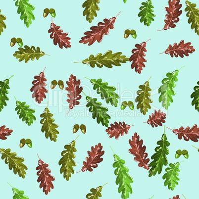 Oak accorn and autumn leaf seamless pattern autumn blue background