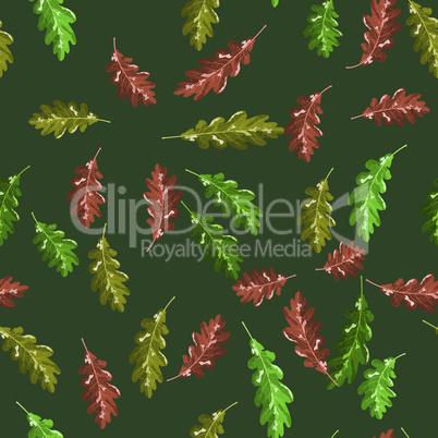 Oak accorn and autumn leaf vector seamless pattern autumn dark green background