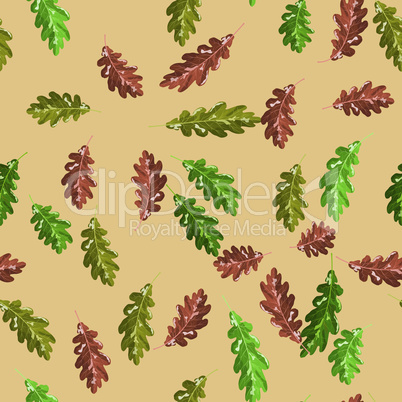 Oak accorn and autumn leaf vector seamless pattern autumn red background