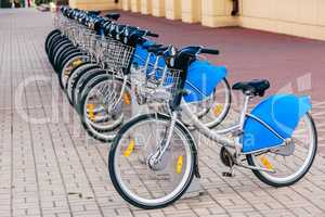 Parked Urban Bicycles on Rental Station.