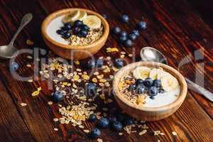 Granola with Banana, Blueberry and Yogurt.
