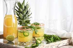 Spicy pineapple margarita with jalapeno