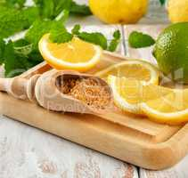 yellow lemons and lime, brown sugar and fresh mint