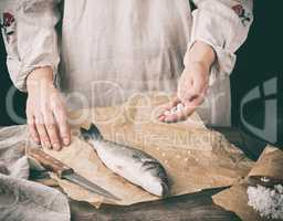 fresh whole sea bass fish lying on brown paper