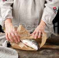 female hands are wrapped in paper whole sea bass fish