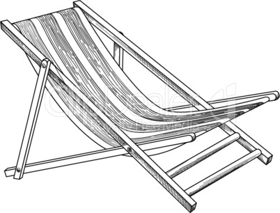 Deckchair outline drawing. Deck chair sketch. Summer sunbath beach resort symbol of the holidays