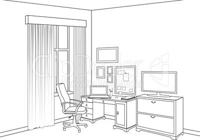 Interior sketch of home office room. Outline furniture design of cabinet room.