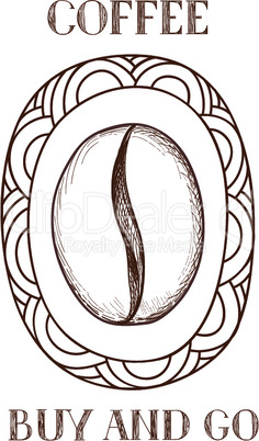 Coffee bean icon. Hand drawn doodle sketch vector symbol of coffee shop