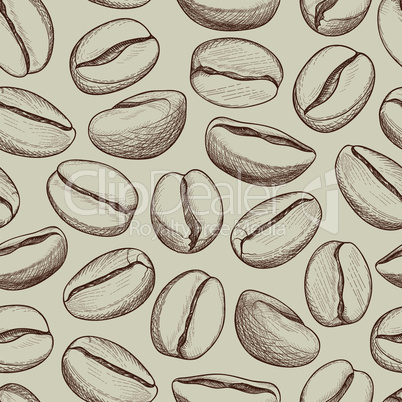 Coffee seamless pattern. Coffee beans hand-drawn sketch. Hot drink coffee background