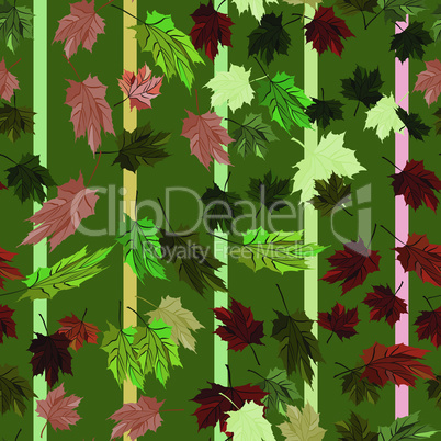 Maple Leaves Vector Seamless Pattern autumn striped green style