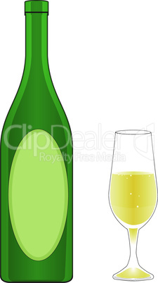 Bottle and glass of champagne