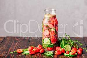Water with Strawberry, Cucumber and Thyme.