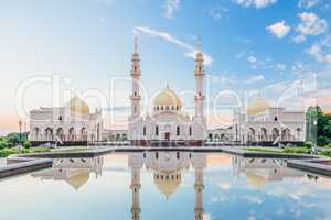 Beautiful White Mosque with Reflection.