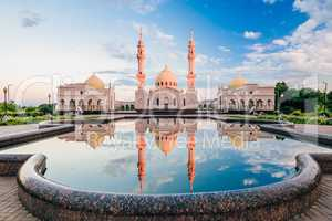 Beautiful White Mosque with Reflection on Water