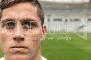 Caucasian Rugby player looking at camera in the stadium
