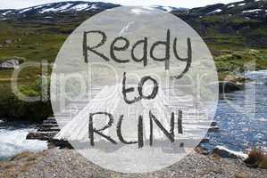 Bridge In Norway Mountains, Text Ready To Run