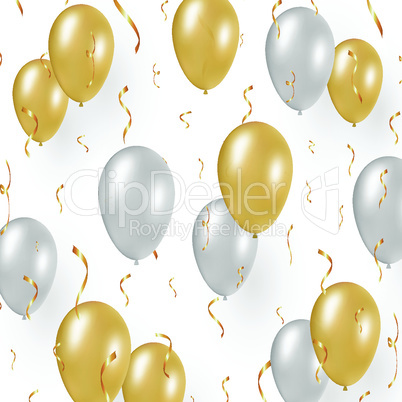 Celebration design with gold balloons, confetti.