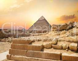 Egyptian pyramid in sand