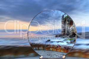 Crystal Ball Sunset over Pirates tower at Victoria Beach in Lagu