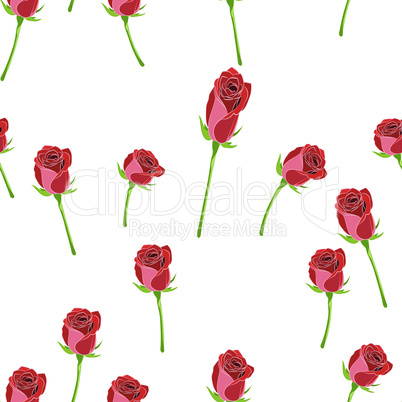 Red rose buttons on the stem vector seamless pattern on a white background.