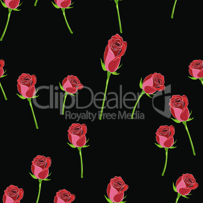 Red rose buttons on the stem vector seamless pattern on a black background.