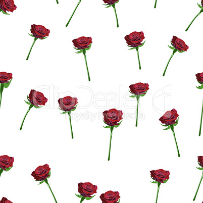 Red rose wide buttons on the stem vector seamless pattern on a white background.