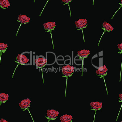 Red rose wide buttons on the stem vector seamless pattern on a black background.
