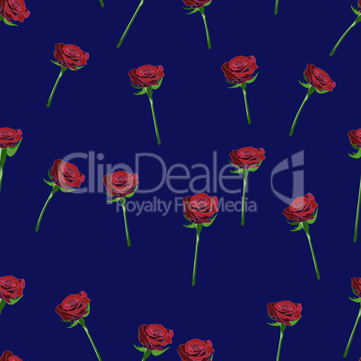 Red rose wide buttons on the stem vector seamless pattern on a dark-blue background.