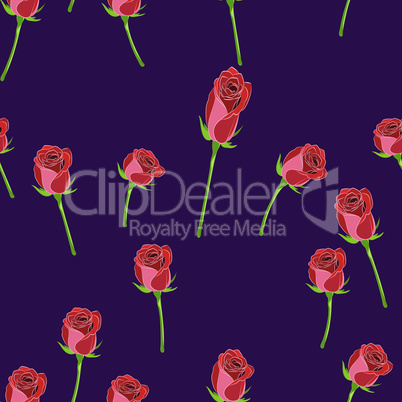 Red rose buttons on the stem vector seamless pattern on a violet background.