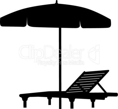 Deckchair umbrella summer beach holiday symbol silhouette icon. Chaise longue, parasol isolated. Sunbath beach resort symbol of the holidays